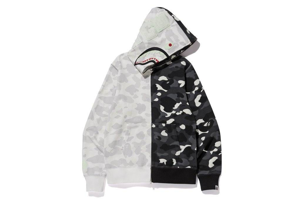 CITY HALF FULL ZIP CAMO SHARK HOODIE