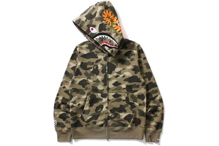 COLOR FULL ZIP CAMO SHARK HOODIE